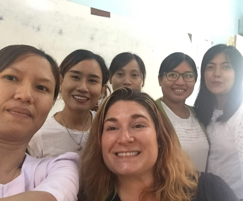 A group of women students with teacher
