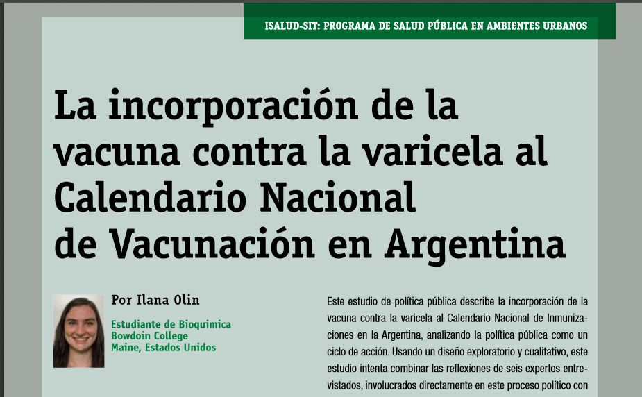 Bowdoin biochemistry, philosophy student publishes vaccination research in Argentinian journal