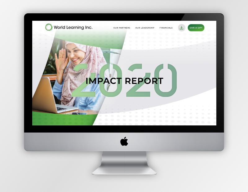 Graphic of a computer screen with a screenshot of the World Learning Inc. 2020 impact report homepage.