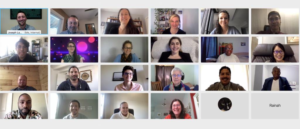 Capstone ceremony participants connect over video call