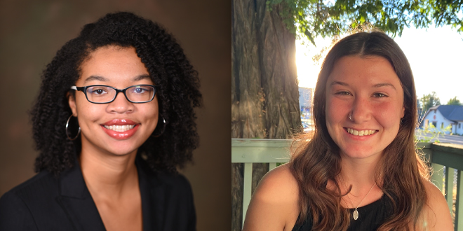 The image shows a professional headshot of Alix Swann in a black blazer, and a headshot of Yardena Meyerhoff posed in front of a tree